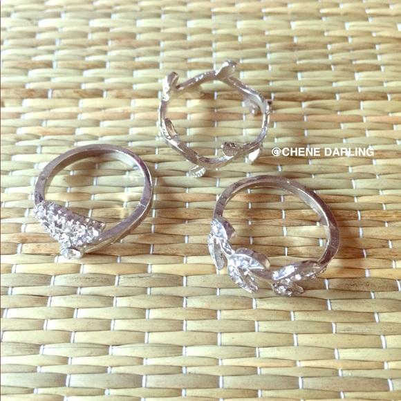 DARLING Jewelry - SILVER 3 PIECE MIDI RING SET